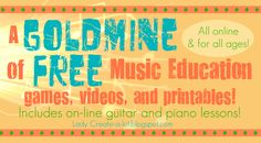 Lady Create-a-lot: MUSIC - This lady is a homeschool teacher. She has compiled a list of many online Music Education Resources with games, videos and printables