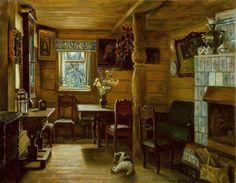 "Finogenova Mlada K. (Russia, ""The rainy summer"" in 1990 Columns Decor, Soviet Art, Russian Art, Russian Style, Illustrations, Cottage Homes, Room Paint, Interior Paint, Cozy House"