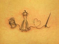 Tatouage bobine, buste, coeur et aiguille