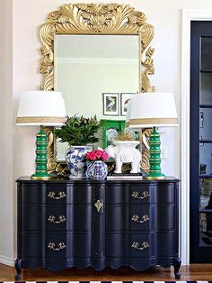ornate gold mirror in entrance way - 9 Bold Mirrors to Reflect Your Impeccable Style