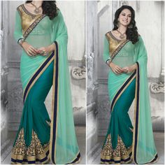 Sea water Color Saree and Designer Blouse Product Number:NRNS-MDR8819