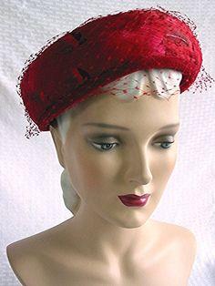 50c23c2fa0a0 Vintage Classy 1950s Red Pillbox Hat 50s Fashion by bonitalouise, $25.00
