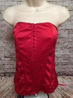 Charlotte Russe Red Satin Sexy Corset Bustier Lace Up Back Top Cosplay Large    eBay