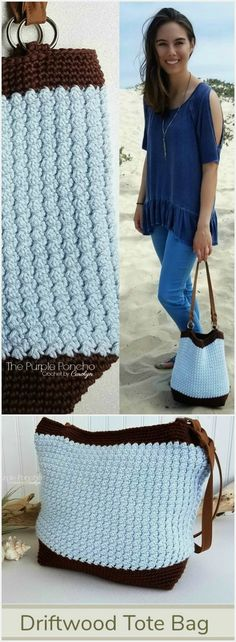 The Driftwood Tote Bagis a simple design with modern impact.An easy pattern repeat makes this a perfect project to enjoy without a lot of fuss. The texture made in the body of the bag is gorgeous. Find the Free Crochet Pattern at #thepurpleponcho #crochetpurse #beachdaycrochet #moderncrochet