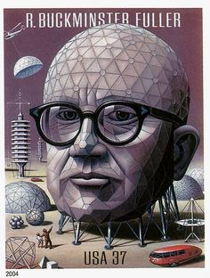 Buckminster Fuller, by Boris Artzybasheff ; Tempera on board, 21 x National Portrait Gallery, Smithsonian Institution, Washington DC USA; gift of Time magazine. Time Magazine, Magazine Covers, Richard Buckminster Fuller, Architecture Classique, Ligne Claire, Geodesic Dome, National Portrait Gallery, Arte Popular, Illustrations