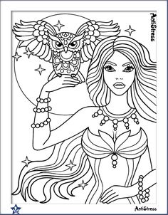 Owl and girl coloring page