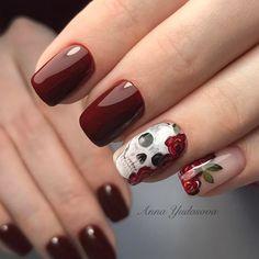 nail art designs 2019 nail designs for short nails 2019 full nail stickers nail art sticker stencils best nail polish strips 2019 Skull Nail Designs, Skull Nail Art, Fall Nail Art Designs, Halloween Nail Designs, Halloween Nail Art, Trendy Halloween, Fancy Nails, Cute Nails, Pretty Nails