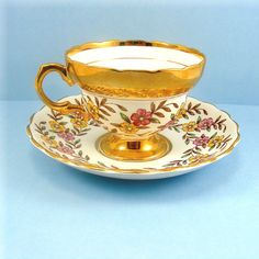 Vintage Tea Cup Teacup and Saucer Rosina Bone China England Floral Pink Yellow Flowers Gold Trim Mid Century
