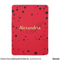 Festive Cute Ladybug Red Golden Yellow Custom Receiving Blankets