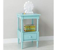 Kids' Nightstand: Kids Light Blue Spindle Nightstand