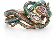Fred Leighton Estate 19th Century Enamel Diamond, Ruby and Emerald Coiled Snake Bracelet