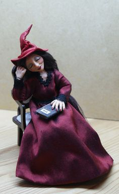 Catarina the Witch handsculpted miniature doll by JendlewickDolls, $110.00