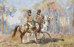 "Zygmunt Rozwadowski  ""Napoleon's Chasseurs of the Guard"", 1900, watercolour, pencil on paper"