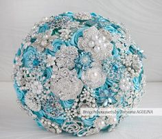 Turquoise and Silver Brooch Rhinestone Wedding Bouquet – made by MagnoliaHandmade on Etsy