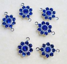 Swarovski Crystal Flowers Jewelry Links with 2 loops Sapphire Blue 6 pcs Connectors by Gstrands on Etsy Crystal Design, Swarovski Crystal Beads, Jewelry Supplies, Blue Sapphire, Crochet Earrings, Unique Jewelry, Handmade Gifts, Rhinestones, Flowers