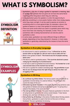 Symbolism: Definition And Examples Of Symbolism In Speech & Writing - 7 E S L Essay Writing Skills, English Writing Skills, Book Writing Tips, Writing Words, English Lessons, Teaching English, Learn English, Essay Writer, Teaching Spanish