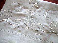 vintage monogrammed linen sheet $115