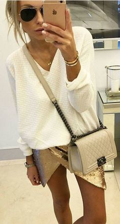 #spring #summer #street #style #outfitideas |White Knit + Gold Sequins