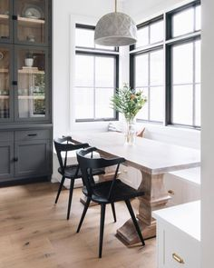 Dining Nook, Dining Room Design, Fireplace In Dining Room, Taupe Dining Room, Ikea Dining Room, Dining Room Windows, Dining Room Lighting, Home Decor Kitchen, Home Kitchens