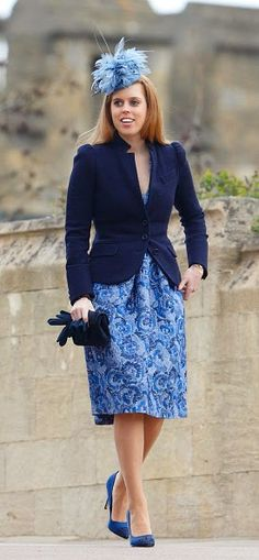 Princess Beatrice sported a striking blue hat with matching dress and a navy blue jacket