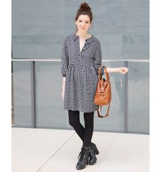 Editor's Style Victoria Hoff Gingham Dress - Winter Street Style Photos - ELLE Gingham Trend