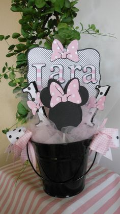 Minnie Mouse Birthday Centerpiece by ASweetCelebration on Etsy