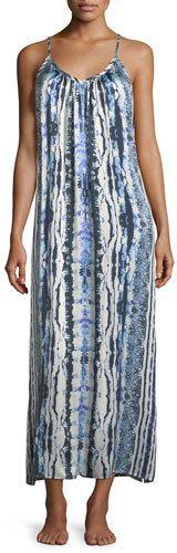 Neiman Marcus Tie-Dye Racerback Silk Long Nightgown