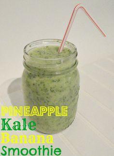 Pineapple Kale Banana Smoothie on MyRecipeMagic.com