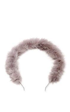 Shop Michi Pearl-Embellished Mink Headband by Eugenia Kim Now Available on Moda Operandi