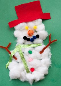 Cotton Ball Snowman: This activity is a favorite with preschoolers who can easily tackle the task with a little assistance; but it is also enjoyed by elementary school children as well who will have fun personalizing their snowmen.