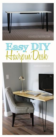 Easy DIY Hairpin Desk with Pencil Drawer - Sawdust Sisters