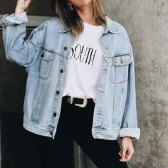 "Groover Babe ""Sagittarius"" zodiac vintage inspired t-shirt-retro graphic unisex tee- made - Denim Jacket Outfit Oversize Look, Oversized Jeans, Jean Jacket Oversized, Over Sized Jean Jacket, Light Blue Jean Jacket, Distressed Jean Jacket, Look Fashion, Korean Fashion, Fashion Outfits"