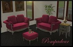 Mod The Sims - Pompadour Living Room Set: 6 new meshes + recolors