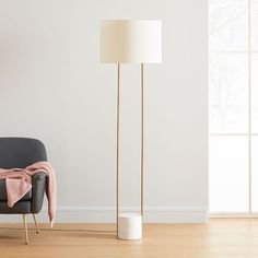 Industrial Outline Floor Lamp, Concrete + Antique Bronze | west elm