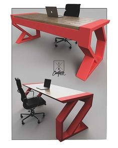 """Design is so SIMPLE."" - Paul Rand We've always the said the hardest things to build are the things that… Folding Furniture, Iron Furniture, Steel Furniture, Woodworking Furniture, Unique Furniture, Industrial Furniture, Furniture Makeover, Study Table Designs, Office Table Design"