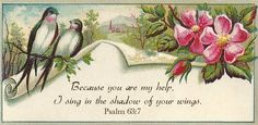 Psalm 63:7 scripture added digitally to Victorian trade card.