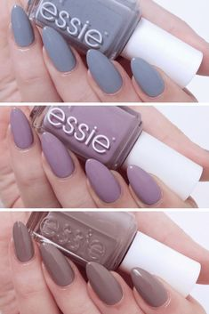 My favourite essie polishes for winter/spring. Almond shaped nails. Essie nail polish swatches. Winter nail inspiration, Spring manicure inspiration. Talonted Lex nails.