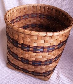 Handwoven Large Storage Basket in Brown and Blue