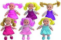 Simba Cheeky toys 38 cm - rádi bychom podobnou (hadrovou s gumovou hlavou, ale menší) - NE růžovou, normální barvičky, nejhezčí tady je ta poslední v tyrkysových šatech