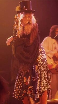 Stevie Nicks - classic gypsy with patchwork fabric skirt and top hat.