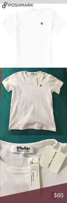Play Comme Des Garçons Red Heart T-shirt NWT/ mark on label / 100% authentic PRODUCT DETAILS We adore this playful, quirky line dreamed up by Japanese designer Rei Kawakubo, so we just had to share it. Sporty-chic separates—like this classic T-shirt—all feature the signature heart logo designed by New York-based graphic artist Filip Pagowski.  Cotton. Comme des Garcons Tops Tees - Short Sleeve