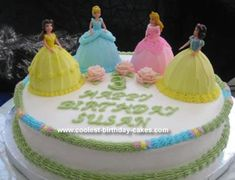 Homemade Princess Cake: I made this princess cake for my daughter's 3rd birthday. She is so into the Disney princesses and couldn't decide on just one.  I made a 14 round base