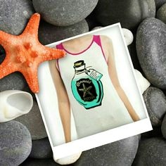 "Mermaid potion print top Mermaid potion print top Color:Fuchsia 95% rayon 5% spandex Made in USA 27.5""long Measurements:S-Size4-6-Bust33.5-35.5Waist23-25 M-Size8-10-Bust36-38Waist28-30 L-Size12-14-Bust38-40Waist30-32 Tag ingredients:sea salt, mermaid hair, sea shell powder, sea foam. Tops Tank Tops"