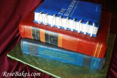May Graduation Party Cake: listing favorite subjects with exact replica of textbooks - Bluebook, Commercial Law, Law Treaties and Health Law.