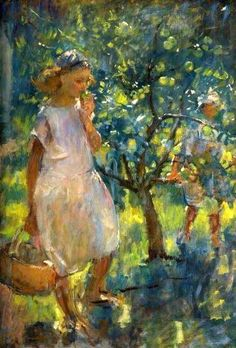 The Orchard, Henry Tonks (1862 – 1937, English) I AM CHILD-children in art history blog