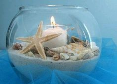 cyprus wedding touches round vase with shell/sand