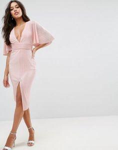 ASOS Plisse Kimono Midi Dress