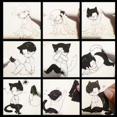 Chibi neko Levi from Attack on Titan Anime Neko, Manga Kawaii, Fanarts Anime, Manga Anime, Anime Art, Levi Anime, Eren E Levi, Attack On Titan Anime, Armin