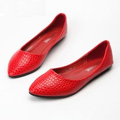 Ballerina Shoes For Women Flat Shoes Woman Pointed Toe Snake Grain Ballet Flats Black Red Casual Shoes Plus Size 43 Zapatos