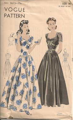 Vogue 9673 - I love the ruching, elongated bodice, and ribbon trim...    #1940s #eveningwear